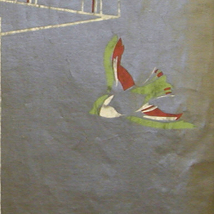 Less than one repeat of design showing a birdhouse on a pole, with four birds in flight. Printed in red, green and white on silvered paper.
