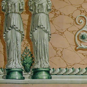 Neo-classical style; caryatids and affronted mythical beasts between which is a pineapple on a basket. The beasts have the body of a lion with butterfly wings. The main architectectural elements and beasts are printed in grisaille while the capitols, base and foliate band are in green. Printed on faux terra-cotta-colored stone ground.