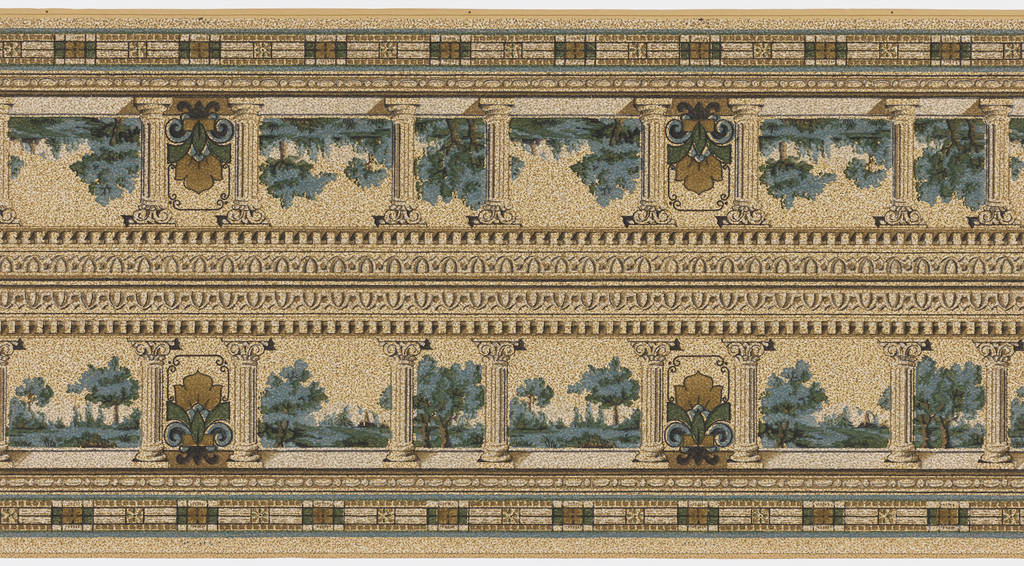 Landscape vista with trees seen through portico or balustrade. A decorative fleur-de-lis motif appears every fourth opening. Printed in green, blue, brown and liquid mica on spotted tan background.