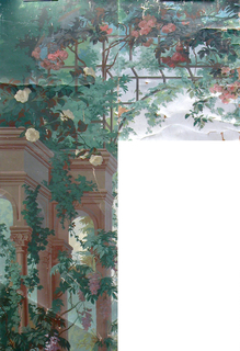 """""""a"""": Irregular-shaped fragment showing portion of a free-standing arcade with Corinthian columns, around which grow wisteria and other vines in large scale. Across top is trellis with pink roses; """"b"""" almost identical motif, but building terminates at left side instead of at right. """"a"""" and """"b"""" are part of major picture of the scenic."""