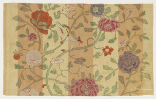 Large scale pattern of twining branches, leaves, birds and flowers painted in brilliant pinks, purples, oranges and blues against a background of wide white and peach colored vertical stripes.