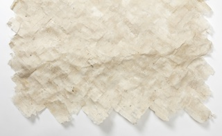 Panel of paper-like material made from peeled ogarami choshi adhered to itself in a herringbone pattern.