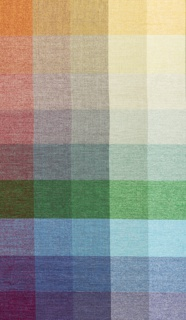 Color blanket for Hint chenille upholstery fabric, with a grid of warp and weft color combinations ranging from pastels to deep grays.