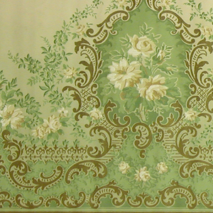 Pattern of large medallions outlined in gilt rinceaux with centralized white rose and leaf bouquets. Outside medallion are branches and wild flowers. In between each medallion lies a smaller rose bouquet. A border of gilt scrolls rests at the base of this design. printed in gilt, white, pale yellow and pea green on a cream ground.