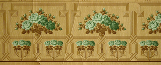 Bouquets of green roses enclosed by geometric, linear borders, with row of larger bouquets on upper portion and row of smaller bouquets underneath. Printed in dark green, lime green, tan and brown.