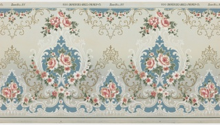 """Alternating large and small floral medallions with floral vining connected by scroll and trelis pattern. Top has floral swag and pendant motif. Solid blue fills parts of background. Ground shades grey to light teal (bottom to top) with a lighter band in the center. Printed in blue, white, pinks, greens and metallic gold. Printed in top selvedge: """"Imperial Wall Paper Co."""" """"Sandyhill, N.Y."""" pattern number """"820""""."""