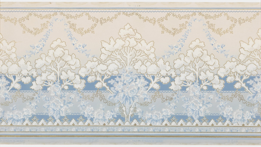 """Stylized landscape with alternating large and small trees in between layers of blue floral bouquets, blue floral and foliate swag and metallic gold floral and foliate swags. The swags hang from a top band of scalloping pattern. Bottom has foral bands and striping. Background of two blue horizontal bands with scalloping. Grounds shades light blue to cream. PRinted in blues, white, metallic gold and white liquid mica. Printed in selvedge: """"Hobbs. Benton & Heath"""" pattern number """"3728"""""""