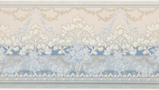 "Stylized landscape with alternating large and small trees in between layers of blue floral bouquets, blue floral and foliate swag and metallic gold floral and foliate swags. The swags hang from a top band of scalloping pattern. Bottom has foral bands and striping. Background of two blue horizontal bands with scalloping. Grounds shades light blue to cream. PRinted in blues, white, metallic gold and white liquid mica. Printed in selvedge: ""Hobbs. Benton & Heath"" pattern number ""3728"""