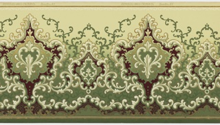 "Flitter frieze. Alternating large and small foliate medallions with horizontal striping connected by foliate scrolls. Bottom and top have striping and scrolling motifs. Background of vining foliate scrolls. Ground shades dark green to light green (bottom to top). Printed in dark red, white, greens and gold mica flakes. Printed in top selvedge: ""Imperial Wall Paper Co."" ""Sandyhill, N.Y."""