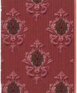 """Diagonal large foliate medallions. Background of red and dark red stripes over an irregular free-style grid with dots. Dark pink ground. Printed in greens, pinks, reds and white. Printed in right selvedge: """"S.A. Maxwell & Co. New York and Chicago."""""""