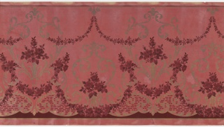 Alternating large and medium foliate medallions with floral bouquet insets connected by floral swag and foliate scrolls. Swag is suspended from top scrolls with pendants. Dark pink ground on paper embossed with vertical lines and covered with white liquid mica. Printed in pinks, red and metallic gold. Slight water damage.