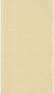 """Covered in a small tan vining foliate pattern. Background of white and white mica dots. Ground is light yellow beige. Printed in right selvedge: """"HOBBS. BENTON & HEATH"""" """"1475"""""""