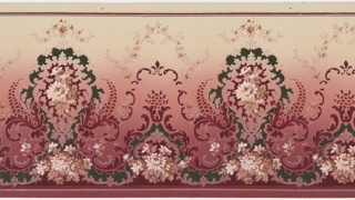 Alternating large and small floral medallions with floral bouquet insets and beading connected by foliate scrolls with pinecones, scrolls with fleur-de-lis, and floral vining. Ground is dark pink to cream. Printed in dark green, reds, tan, light pink, white and white mica.