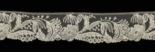 Band in a design of floral scrolling branches alternating with blossoms.
