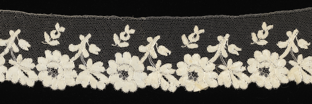 Edging lace showing a pattern of flowers and leaves that form scallops along one side.