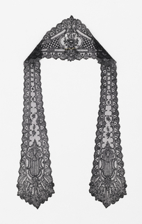 Black lace headcovering with a cap streamer at either side. Chantilly-style design showing a stylized floral pattern.