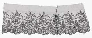 Chantilly-type black lace of curving floral sprays within a scalloped border.