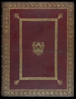 Cover for bound volume. On red ground, patterned gold details frame the outer edges. A second rectangular decorated gold frame inset at the center, with four fleur-de-lys projecting diagonally from each of its corners. At the center, coat of arms of King Louix XIV.