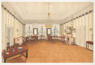 This room in the residence of Governor Baron von Wernhardt is in the Viennese Biedermeier style. The man in military uniform in the large portrait on the right is presumed to be Ferdinand I (1792-1875). The three windows at the rear are dressed in white curtains; flowered bolsters on the sills serve to block the cold, mountainous weather. The cabinets, banquettes, mirrors and sidetables are of stark 1830s Biedermeier design, as is the bare parquet floor. The occasional chairs display the curved line of the Rococo Revival. The walls are papered in a large patterned stripe.