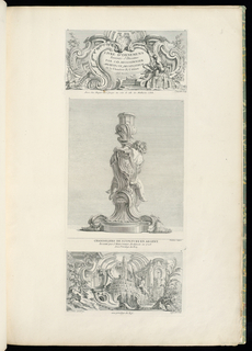 Design for title page, asymmetrical cartouche decorated with shell motif, auricular elements with extending foliage, a river god (at right) seated on a fountain.  In the center of the cartouche is written: LIVRES D'ORNEMENS/Inventés & Dessines/PAR J.O. MEISSONIER/ARCHITECTE, DESSINATEUR/de la Chambre & Cabinet/DU ROI.