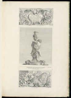 Elevation of a candlestick with a partial view of a curly-headed putto, its left arm resting on a cartouche, which displays a fleur de lis and crescent in the center.  The legs of a second putto appear on either side beneath.