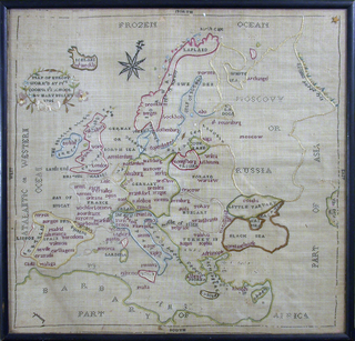Map of Europe embroidered in colored silks on bolting cloth.