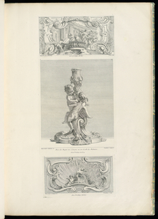 1st state. Rectangular panel, central shell surrounded by acanthus leaves, volutes, and garlands. Lower center in front of shell, a cupid (right) holds his bow and arrow. A cupid (left) is seated.
