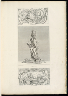 Design for candlestick (1921-6-212-6-b, 1921-6-212-8-b) showing another view of two putti intertwined among rococo scrolls and volutes of candlestick.