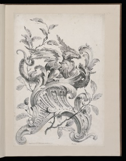 Print, Winged Griffin on a Rocaille Bracket, Plate 6, Première Partie divers Ornements (Various Ornament Designs, Part One)