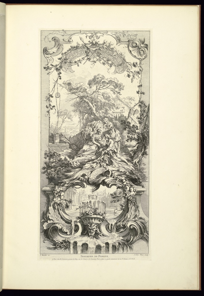 One of five panel designs for a folding screen. The other designs in the series include Rocaille (Rock Garden) etched by Charles Nicolas Cochin ; and Hommage Champêtre (Pastorale); Léda; and Triomphe de Priape (Triumph of Priapus) all etched by Claude Duflos the Younger. This panel design depicts Pomona, a nymph who adored her fruit trees and gardens, two young companions, a male and a female, and a rustic building in the background. Below, a cartouche decorated with fruits and leaves, the interior decorated with a circular courtyard, a fountain and grotesque mask.