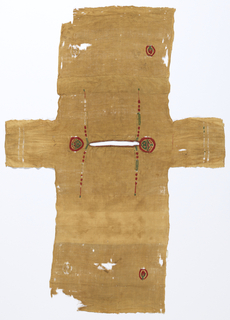 A whole child's tunic of linen with in-woven tapestry decorations. The back is approximately 18 cm shorter than the front due to a wide, horizontal tuck that was taken in it originally and stitches from a similar tuck remain in front of the tunic. Selvage at bottom of front and back and at inside of sleeves. Neckline is a slit which has been finished with two rows of red crocheted edging. Sleeves similarly finished, in tan, with only one row. At shoulders, circular tapestry-woven decorations – a green and red floral design with red border. Green and red simple, narrow decorative clavi, front and back, passing over the shoulders. Tapestry-woven medallion containing red bud with green stem in red border, at lower corners front and back, only two remain in whole condition.