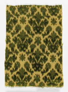 Formal design of symmetrical floral sprigs in deep green on yellow.
