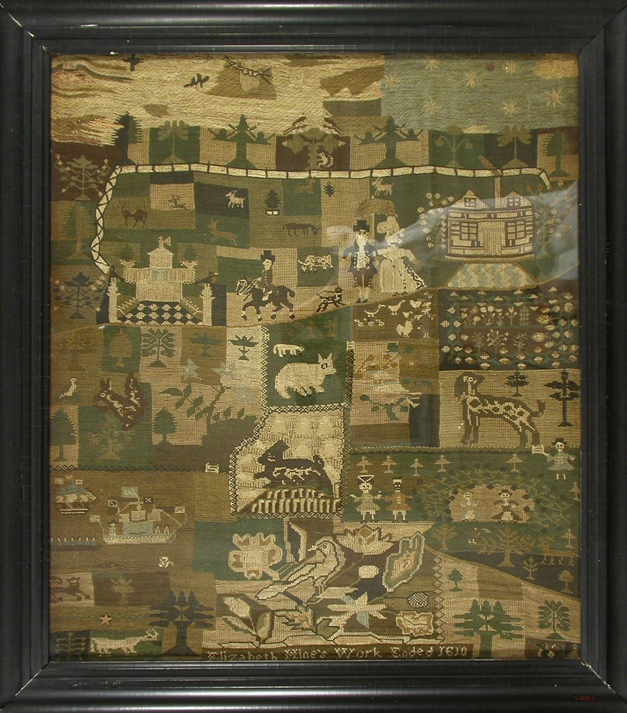 "Worked in needlepoint in browns, greens, neutrals, off-white and light blue on a loose linen mesh. ""Primitive"" style, composed of irregularly shaped blocks with different motifs, including a castle, a house, a garden, sailing ships, male and female figures, animals, birds, insects, trees, a man on horseback, etc."