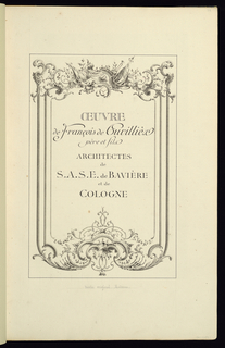 Title page by an anonymous designer for a miscellaneous volume with prints after François de Cuvilliés the Elder and the Younger.  Ornamental text within a decorated frame topped with an armorial trophy.