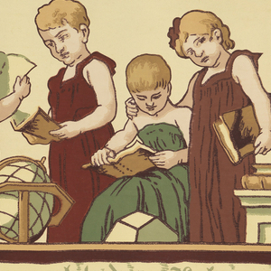 "Children's frieze with repeating group of seven school girls in green and red dresses, holding books, abaci and hoops, with a terrestrial globe. Across bottom a banderole with the Gothic-letter inscription in German: Arbeit macht das Leben Süss [Work Makes Life Sweet]. Printed in top selvedge: Wm. Campbell-Wall-Paper-Co., Antiseptic Pat'd 8-9-04"". Printed in bottom selvedge:  ""The Froebel, E.J. Walenta, 496""."
