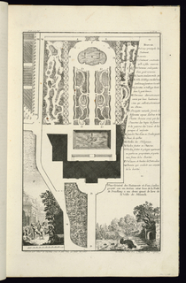 Plan of a garden and garden buildings. An extensive key to letters A-Q figures in the print on the right. Lower left and right are perspective views of part of the building and the garden. In the view at lower left, a group of dancing drinking putti figures, some playing music.