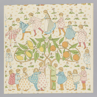 "An orange and a lemon tree laden with fruit are growing side by side. A group of children have formed a circle around citrus trees and are probably playing ""Oranges and Lemons"". Daisies are growing in the grass. Designed for Jeffrey and Co. of London. Now produced at the Sanderson mill from original rollers."