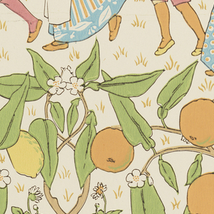 """An orange and a lemon tree laden with fruit are growing side by side. A group of children have formed a circle around citrus trees and are probably playing """"Oranges and Lemons"""". Daisies are growing in the grass. Designed for Jeffrey and Co. of London. Now produced at the Sanderson mill from original rollers."""