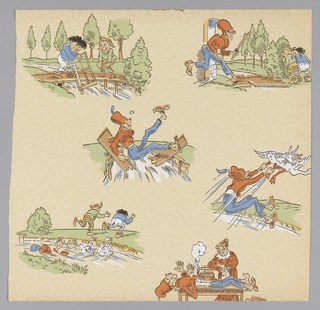 """Vignettes of Katzenjammer kids and parents depicting numerous acts of mischief performed by the kids and suffered by the parents.  Paper is lightly embossed in allover pattern. Samples include: """"New Orleans"""", """"Cocktail"""". Includes several samples of children's papers. g) """"Max and Moritz"""" by Wilhelm Busch: this paper illustrates the third trick from """"A Juvenile History in Seven Tricks""""."""