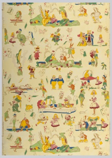 "Children's paper showing characters from ""Alice in Wonderland"" and vignettes in bright multicolor, especially yellow. Printed in colors on cream ground. Printed in selvedge: ""(thistle) Thomas Strahan Co.  Made In USA  Copyright Tony Sarg's ""Alice in Wonderland."" Pattern number 6884."