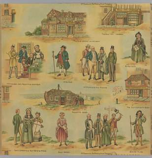 "Children's paper with characters and vignettes taken from Charles Dickens stories, including ""The Old Curiousity Shop"", ""Barnaby Rudge"", and ""David Copperfield"". Printed in yellow, green, red and blue on a background of mostly blue."