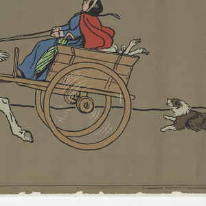 Seven panels of non-repeating nursery or children's border. Sheets one and two are composed entirely of running dogs. The remaining sheets contain horse-drawn carriages and more dogs. Printed in colors on brown ingrain paper.