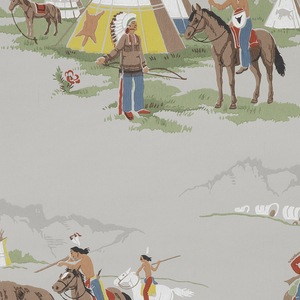 Children's or boys paper. Contains scenes of the wild West including Indians shooting buffalo, a cowboy on horse leading a wagon train, and a teepee. Printed in red, slate blue, green, brown, yellow, and white on a grey ground.