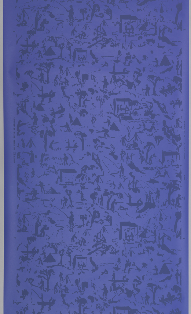 "All-over pattern of many different outdoor activities, including: hunting, fishing, boating, picnicing, tent camping, sitting at beach, etc. Scenes are all printed in dark gray-blue matte pigment on a slightly lighter blue ground. Printed in selvedge: ""'Activities' by William Wegman for A/D Gallery. Printed in ball point pen just below A/D Gallery is ""1/1500"". Children's wallpaper."