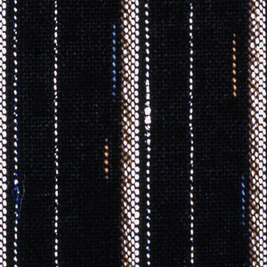 """Length for yukata or summer kimono in dark blue with narrow stripes of white and light brown. Handwoven and dyed. In """"mingei"""" or folk art style."""