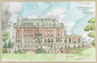 The south facade of the Carnegie Mansion is embellished in color, transforming the building into a summer villa. Additions to the original photomechanical elevation include wrought iron railings and a stripped awning at right just off the area occupied by the conservatory and picture gallery. Large white clouds billow up into a blue sky behind the mansion. Small figures enliven the scene: at left, lovers seem to dance under the tree; above them a figure on a balcony eavesdrops. Others appear in the windows or stand waiting at the door.