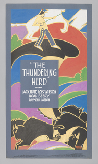 Poster depicts a colorful abstract scene. Above, a man holding reins of a white horse; below, a herd of black bulls.
