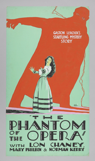 """Film poster with orange yellow ombre gradation in background. Depicts outlined female silhouette, holding a rod, beside lilies. Below, text in light green: """"LILIES of the FIELD""""/ WITH/ Corrine  Griffith + Conway Tearle."""
