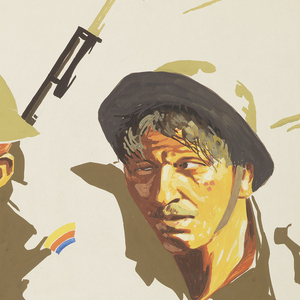 """The poster depicts heads of two soldiers wearing army uniforms and helmets. Text in orange gouache, lower margin: """"Behind / The Front"""" / [in beige gouache] WALLACE BEERY, RAYMOND HATTON / MARY BRIAN."""