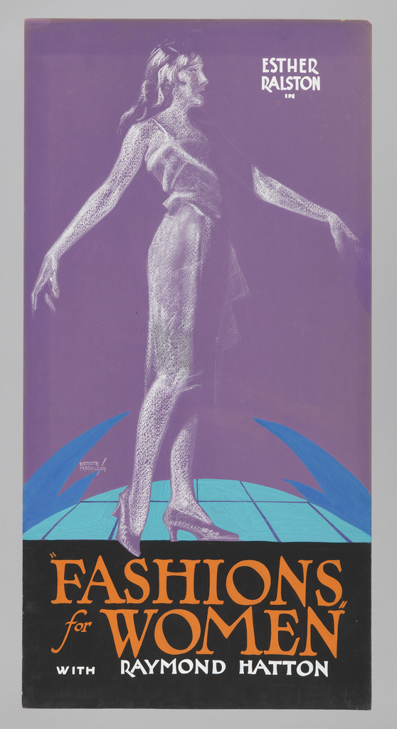 "The poster depicts the figure of a woman in chalk, with arms out, standing on a blue tiled floor. Text in orange gouache, lower margin: ""FASHIONS / for WOMEN"" / [in white gouache] WITH RAYMOND HATTON."